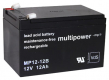 Multipower Blei-Akku MP12-12B (12V 7,2Ah) VdS 6,3mm